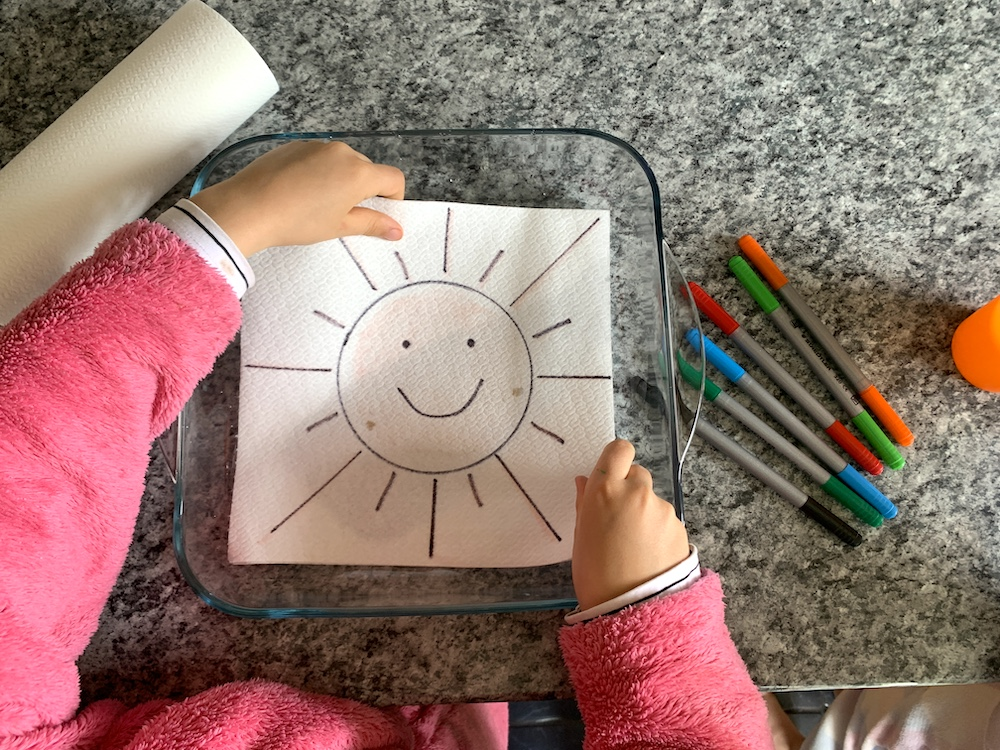 sun picture for kitchen towel art activity